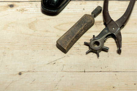 worktop: Shoemakers tools on Wooden Worktop Bench
