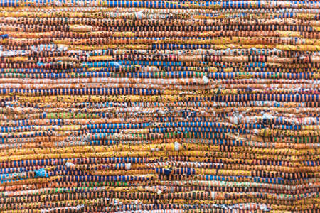 Woven Multicolored Rag Material Rug Background