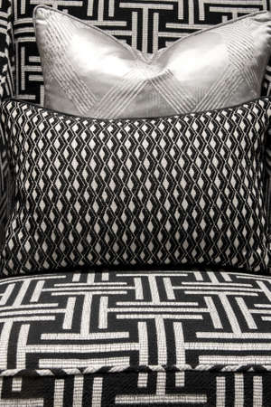 furnish: Modern and Contemporary Pattern Design Soft Comfortable Chair and Cushions Stock Photo