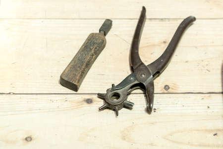 Shoemakersu0027 Tools On Wooden Worktop Bench Stock Photo   61387149