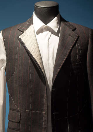 Work in Progress Suit on Mannequin with Exposed Stitching Archivio Fotografico