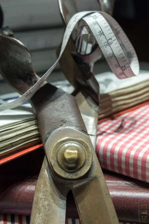 Tailors Scissors, Measuring Tape, Notebook and Clothing Swatches