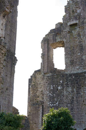 Abandoned and Derelict Castle with Crumbling and Ruined Brickwork Stock Photo