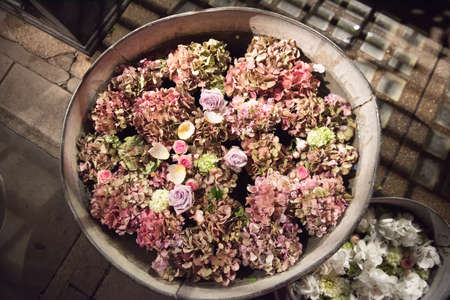 Metal tubs filled with summer flowers. Pink hydrangeas and roses and others viewed high angle on outdoor paving with copy space