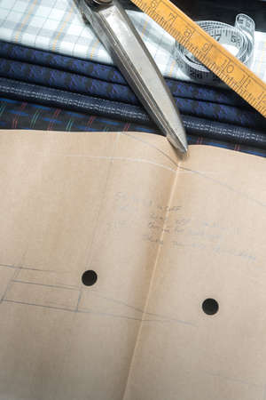 Tailoring Scissors, Measuring Tape, Swatches of Fabric and Paper