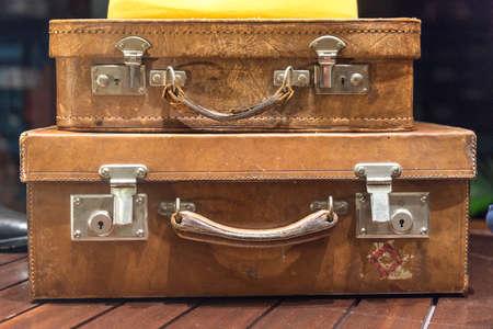 Two Vintage Suitcases Stacked 版權商用圖片