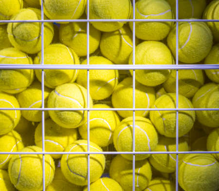 Bright Fluorescent Yellow Tennis Balls in metal Mesh Cage