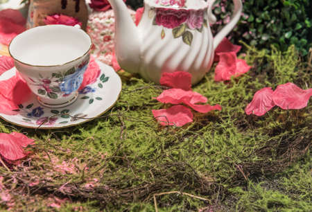 Luxurious Cream Tea Picnic Party Scene with Flower Petals and Old Fashioned Porcelin Tea Set