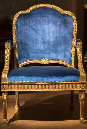 Large Blue Fabric Throne Chair with Gold Frame in Spotlight