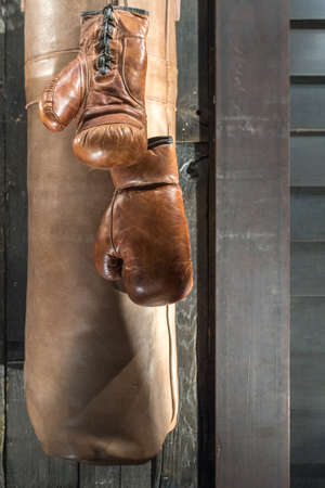 Classic Brown Boxing Gloves with Punch Bag and Wooden Background 版權商用圖片 - 143076684