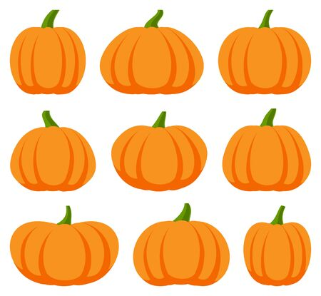 Cartoon halloween pumpkin set illustration. 向量圖像