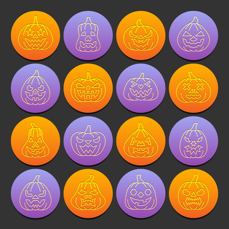 Carving face Halloween Pumpkin icon set. Flat style emboss thin line with shadow. Linear symbol collection. Outline sign on colored circles background. Web design symbol pack. Vector illustration