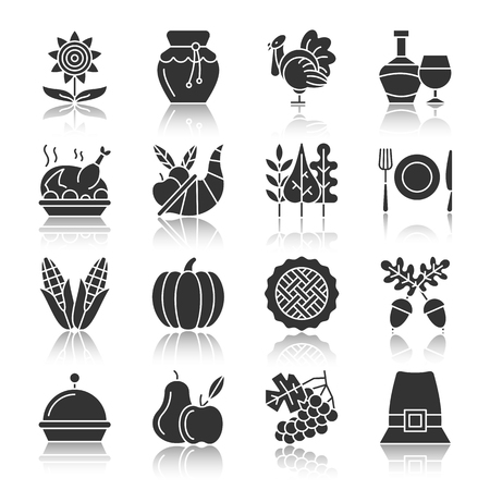 Thanksgiving day black silhouette with reflection icon set. Monochrome flat design symbol collection. Pumpkin, cornucopia, turkey, vegetables, holiday symbol. Harvest season sign. Vector illustration Ilustração