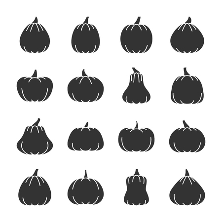 Halloween Pumpkin black silhouette icon set. Monochrome flat design vector illustration symbol collection. Simple graphic pictogram pack. Party, web, print, card, poster, banner, flyer, tag concept