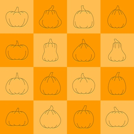 Halloween Pumpkin icon set. Flat style emboss thin line with shadow. Linear symbol collection. Vector illustration outline sign on colored square background. Web, print, card, baner design symbol pack