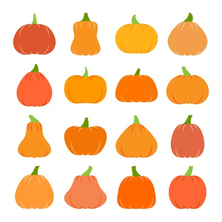 Colorful Halloween Pumpkin icon set. Flat design symbol collection. Color concept for web, infographic, print, card, office, banner, poster, card, flyer. Sign isolated on white vector illustration