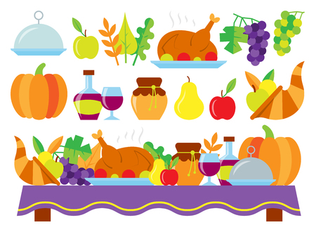 Colored Thanksgiving day card. Food for thanksgiving dinner on the holiday table. Nature, dishes, turkey, fruit and vegetable gift isolated on white background. Web, banner concept vector illustration