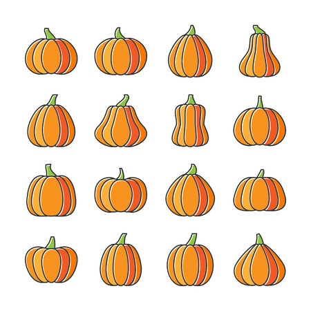 Halloween Pumpkin icon set. Flat design line icon with displaced fill. Web, infographic, print, card, office, business style, sticker, badge color concept. Sign isolated on white. Vector illusration Illustration