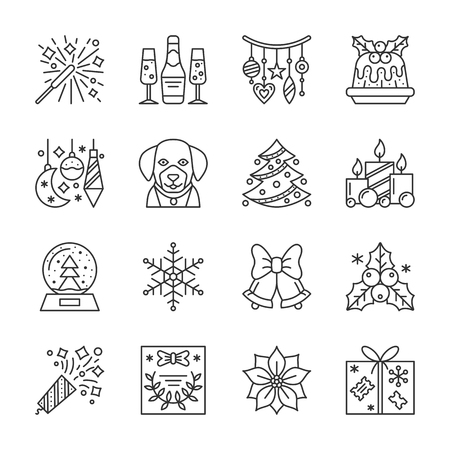 New Year thin line icon set. Christmas linear symbol pack. Outline sign without fill. Editable stroke. Simple pictogram graphic collection. Web, print, card design. Vector isolated on white