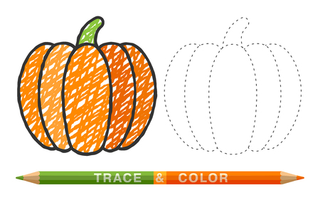 Pumpkins made of dotted lines and with colored pencil. Illustration