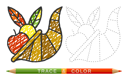 Cornucopia icons made of dotted lines and with colored pencil.