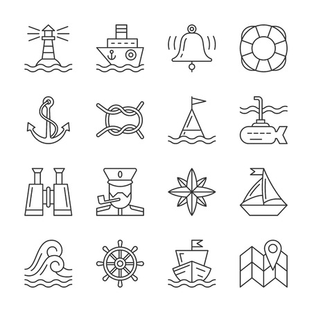 Nautical thin line icon set. Illustration