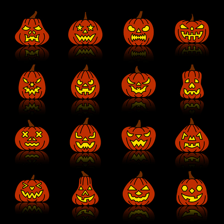 Carving face Halloween Pumpkin color silhouette with reflection icon set. Monochrome flat design vector illustration symbol collection. Simple graphic pictogram pack. Web, print, card, banner concept