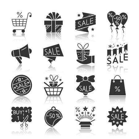 Season sale black silhouette with reflection icon set.