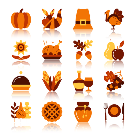 Thanksgiving day color silhouette with reflection icon set. Monochrome flat design vector illustration symbol collection. Simple graphic pictogram pack. Web, print, card, poster, tag, banner concept  イラスト・ベクター素材