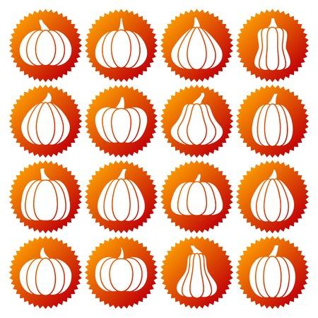 Pumpkin white silhouette icon set. Monochrome flat design symbol collection. Simple graphic pictogram pack. Logo, web, print, label, infographic, business, banner, sticker concept Vector illustration