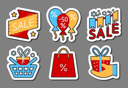Season sale icon sticker set.