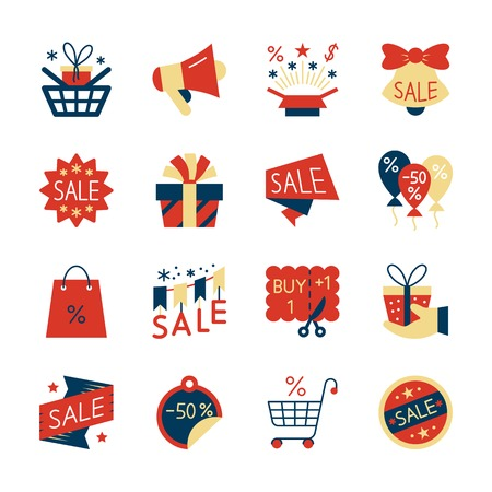 Clearance sale colorful flat style icon set. Design symbol collection. Color season special offer pack concept. Web, label, banner, card, badge, ad, logo design. Vector illustration isolated on white Vettoriali