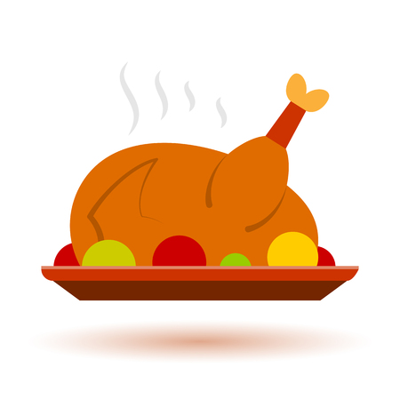Thanksgiving, Cristmas color Turkey icon with shadow. Holiday diner symbol flat design. Vector sign isolated on white.  print, card, label graphic concept