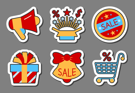 Season sale icon sticker set. Clearance flat style color. Badge, web, banner, business, emblem, print, tag, ad, label, poster gift card offer coupon isolated collection design Vector illustration.