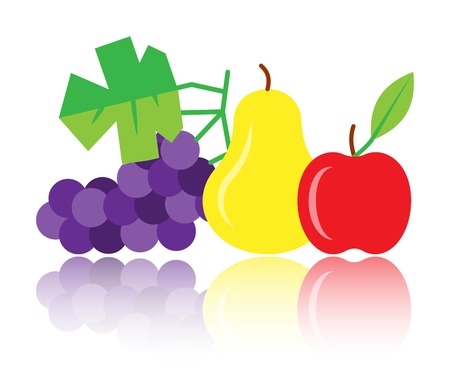 Colorful pear, apple, grapes icon with reflection shadow. Thanksgiving symbol flat design sign. Fruit color symbol, print, card, label graphic concept. Vector illustration isolated on white background.