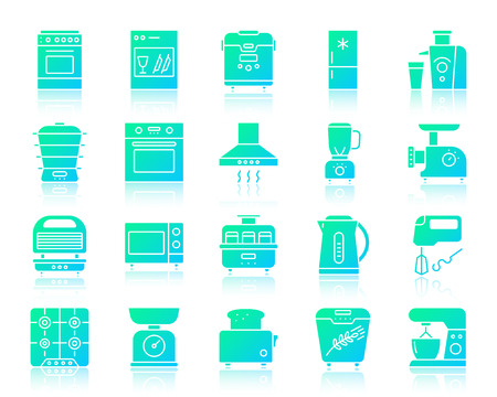 Kitchen Appliances silhouette icons set with reflection. Color web sign kit of equipment. Kitchen vector icon collection includes steamer, chopper, grinder. Simple gradient shape isolated on white Illustration