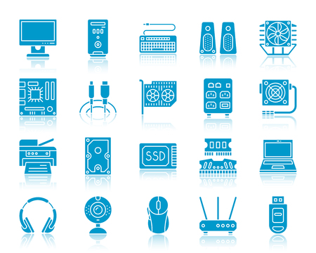Computer color silhouette icons vector set