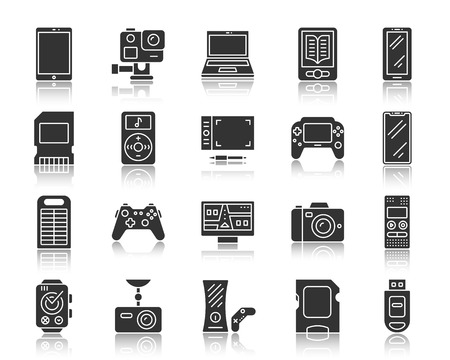 Device silhouette icons set. Monochrome web sign kit of gadgets. Electronics pictogram collection includes console, tablet, laptop. Simple vector black symbol. Device shape icon reflection Stock Vector - 101621286
