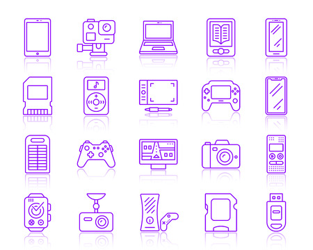 Device thin line icons set. Outline vector monochrome web sign kit of gadget. Electronics line icon collection includes console, tablet, laptop. Simple device symbol with reflection isolated