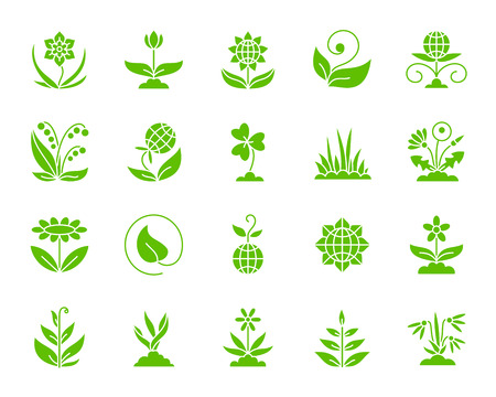 Garden silhouette icons set. Isolated web sign kit of flower. Plant monochrome pictogram collection includes sprout, growth, seedling. Simple garden symbol. Vector Icon shape for stamp