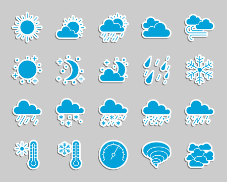Weather silhouette sticker icons set. Web sign kit of meteorology. Climate pictogram collection includes rain, wind, snow. Simple weather vector icon shape for patch and embroidery