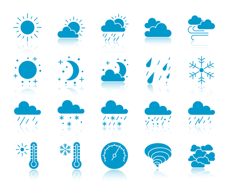 Weather silhouette icons set. Web sign kit of meteorology. Climate monochrome pictogram collection includes barometer, cloud, drizzle. Simple weather symbol reflected. Vector Icon shape isolated