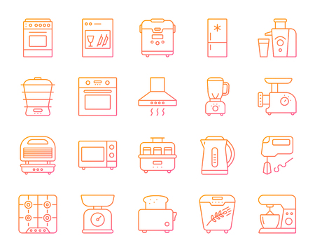 Kitchen Appliance thin line icons set. Outline vector web sign kit of equipment. Electronics linear icon collection includes microwave, gas, cooker. Color gradient simple kitchen symbol isolated 免版税图像 - 101631379
