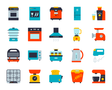 Kitchen Appliance flat icons set. Web sign kit of equipment. Electronics pictogram collection includes blender, juicer, gas. Simple kitchen cartoon colorful icon symbol isolated. Vector Illustration Illustration
