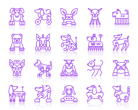 Robot Dog thin line icons set. Outline vector purple web sign kit of pet. Ultraviolet Character linear icon collection includes transformer, machine, cyborg. Simple robot dog symbol with reflection