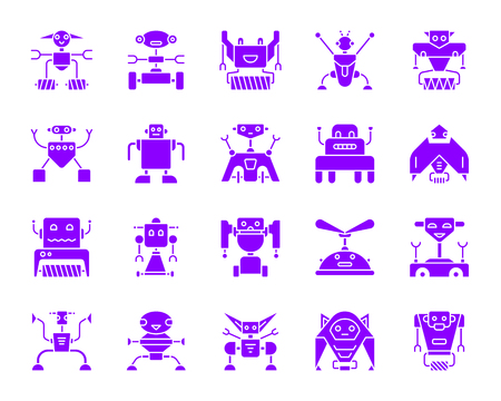 Robot silhouette icons set. Isolated web sign kit of toy. Character ultraviolet pictogram collection includes transformer, cyborg, machine. Simple purple robot symbol. Vector Icon shape for stamp Illustration