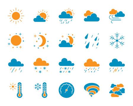 Conjunto de iconos de silueta de tiempo. Aislado en blanco kit de señalización web de meteorología. La colección de pictogramas climáticos incluye nubes, nieve, lluvia. Símbolo meteorológico simple. Forma de icono de vector para sello