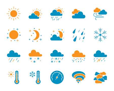 Weather silhouette icons set. Isolated on white web sign kit of meteorology. Climate pictogram collection includes cloud, snow, rain. Simple weather symbol. Vector Icon shape for stamp