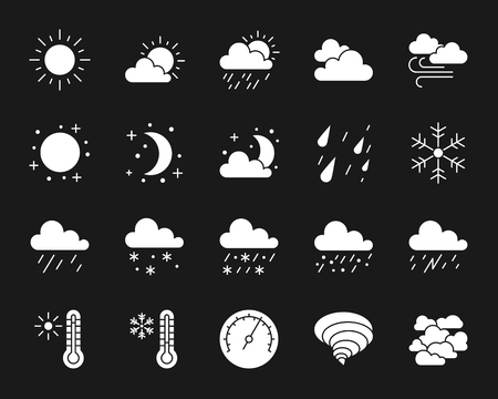 Weather silhouette icons set. Isolated web sign kit of meteorology. Climate monochrome pictogram collection includes sun, rain, storm. Simple white symbol. Weather vector Icon shape