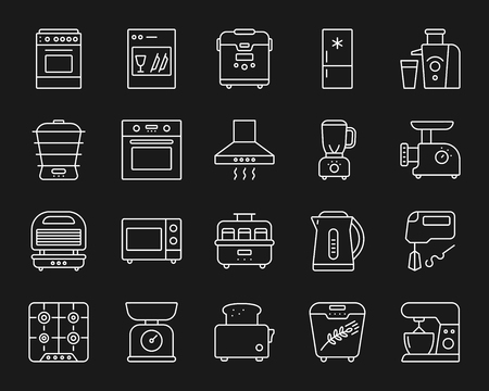 Kitchen Appliance thin line icons set. Outline monochrome web sign kit of equipment. Electronics linear icon collection includes freidge, toaster, processor. Simple kitchen symbol. Vector Illustration